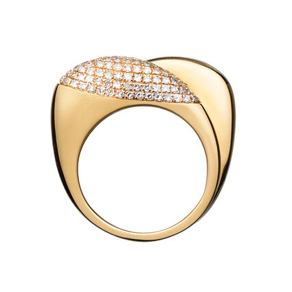 Hope 18kt Yellow Gold & Diamond Double Ring, , hires