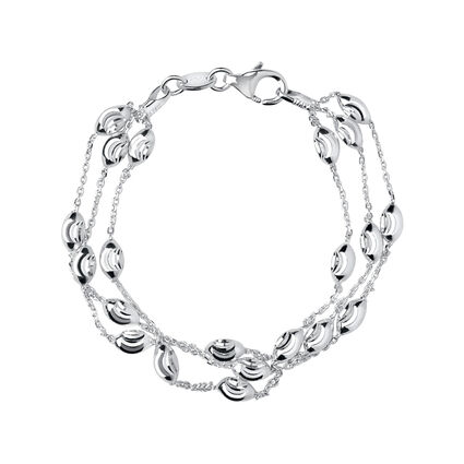 Essentials Sterling Silver Beaded Chain 3 Row Bracelet, , hires