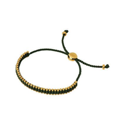 18kt Yellow Gold & Khaki Cord Mini Friendship Bracelet, , hires