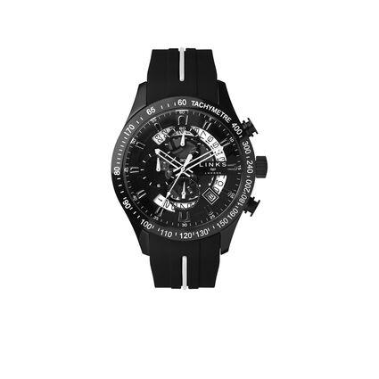 Skeleton Black Rubber Strap Chronograph Watch, , hires
