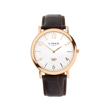 Noble Slim Mens Rose Gold Plate & Brown Leather Watch, , hires