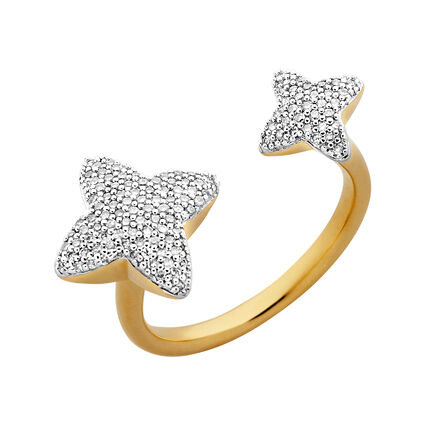 Splendour 18kt Yellow Gold Vermeil & Diamond Four-Point Star Double Ring, , hires