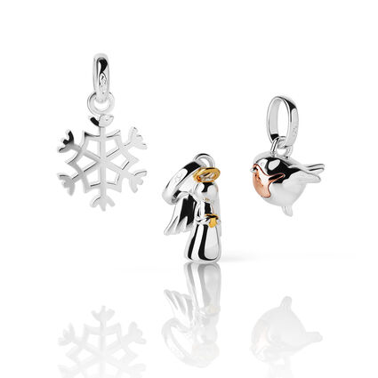 Sterling Silver Guardian Angel, Snowflake and Robin Charm Set, , hires