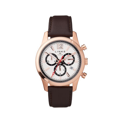 Greenwich Noon Mens Rose Gold Tone Chronograph Brown Leather Watch, , hires