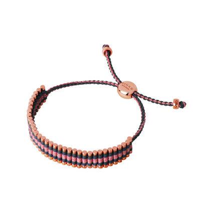 18kt Rose Gold Vermeil, Grey & Copper Glitter Cord Friendship Bracelet, , hires