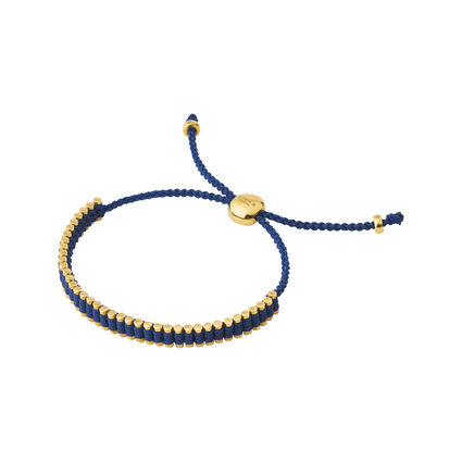 18kt Yellow Gold Vermeil & Navy Cord Mini Friendship Bracelet, , hires