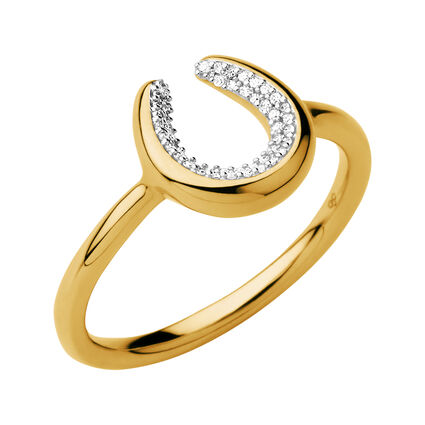 Ascot Diamond Essentials 18kt Yellow Gold Vermeil Horseshoe Ring, , hires