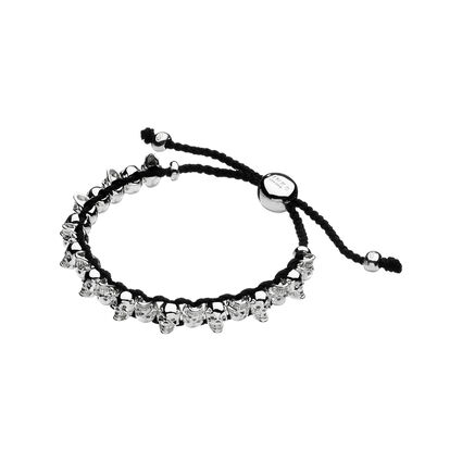 Sterling Silver & Grey Cord Skull Friendship Bracelet, , hires