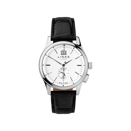 Regent Mens Stainless Steel & Black Leather Watch, , hires