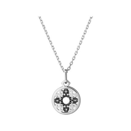 Timeless Sterling Silver & Black Sapphire Pendant Necklace, , hires