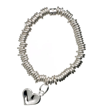 Sweetie Sterling Silver Thumbprint Childs Bracelet with Heart Charm, , hires