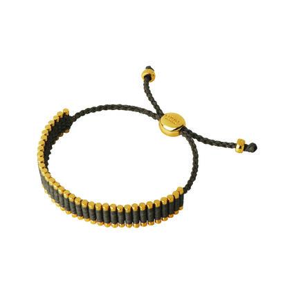 18kt Yellow Gold Vermeil & Khaki Cord Friendship Bracelet, , hires