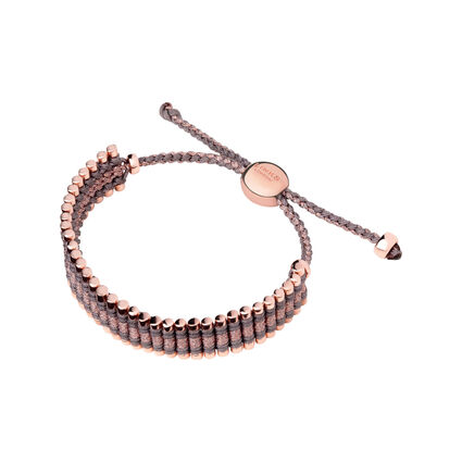 18kt Rose Gold Vermeil, Taupe & Copper Cord Friendship Bracelet, , hires