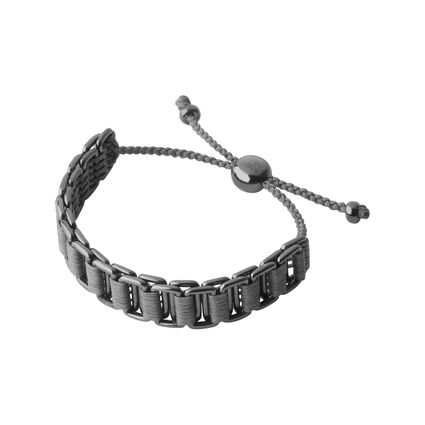 Friendship Mens Ruthenium & Grey Cord Bracelet, , hires