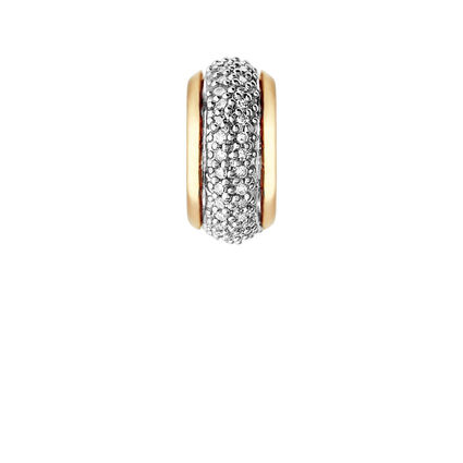 Sweetie 18kt Yellow Gold Vermeil & White Diamond Pave Bead, , hires