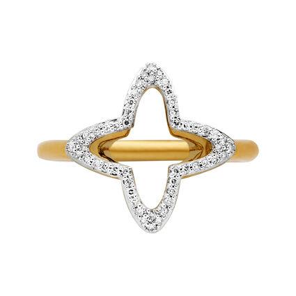 Splendour 18kt Yellow Gold Vermeil & Diamond Open Four-Point Star Ring, , hires