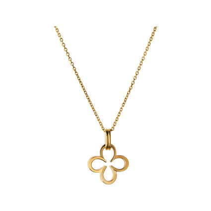 Ascot 18kt Yellow Gold Vermeil Lucky Clover and Horseshoe Necklace, , hires