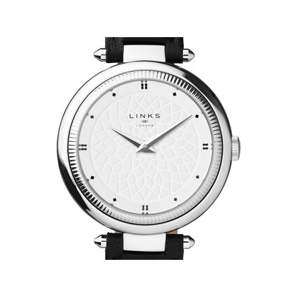 Timeless Stainless Steel & Black Leather Watch, , hires