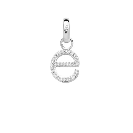 Sterling Silver & Diamond E Alphabet Charm, , hires