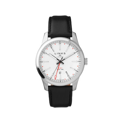 Greenwich GMT Mens Stainless Steel & Black Leather Watch, , hires