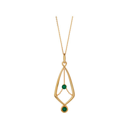 Serpentine 18kt Yellow Gold Vermeil & Green Chalcedony Gemstone Pendant Necklace, , hires