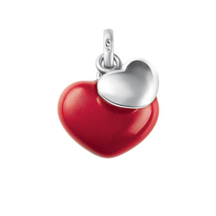 Sterling Silver Two Hearts Charm, , hires