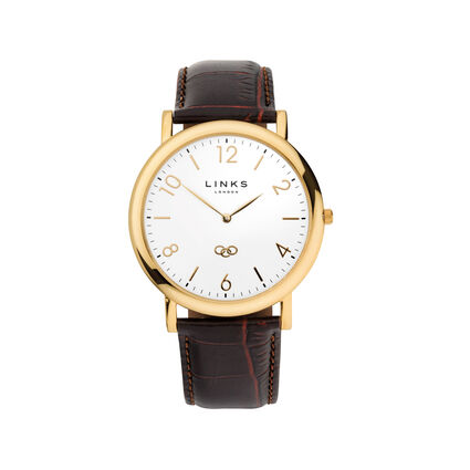 Noble Slim Mens Yellow Gold Plate & Brown Leather Watch, , hires
