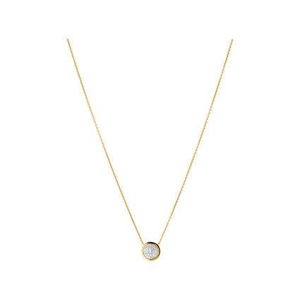 Diamond Essentials 18kt Yellow Gold Vermeil & Pave Round Necklace, , hires