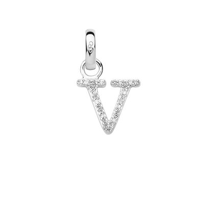 Sterling Silver & Diamond V Alphabet Charm, , hires