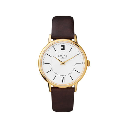 Noble Slim & Roman Yellow Gold Plated & Brown Leather Watch, , hires
