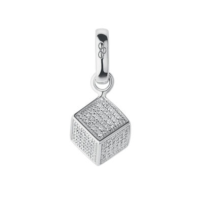 Sterling Silver & Diamond Sugar Cube Charm, , hires