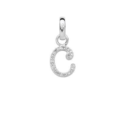 Sterling Silver & Diamond C Alphabet Charm, , hires