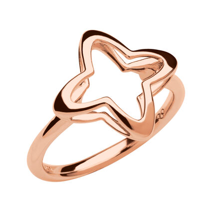 Splendour 18kt Rose Gold Vermeil Open Four-Point Star Ring, , hires