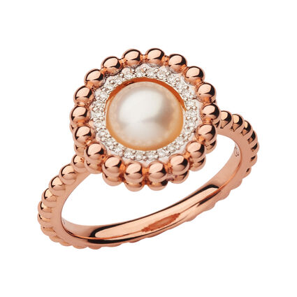 Effervescence 18kt Rose Gold, Diamond & Pearl Ring, , hires