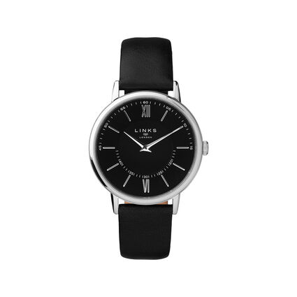Noble Slim & Roman Stainless Steel & Black Leather Watch, , hires