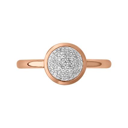 Diamond Essentials 18kt Rose Gold Vermeil & Pave Round Ring, , hires