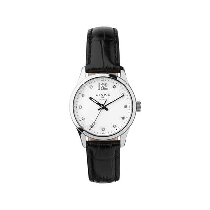 Greenwich Noon Womens Stainless Steel & Black Leather Watch, , hires