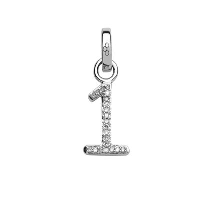 Sterling Silver & Diamond Number 1 Charm, , hires