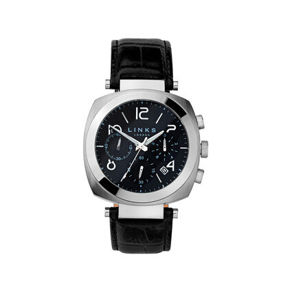 Brompton Mens Stainless Steel & Black Leather Black Dial Chronograph Watch, , hires