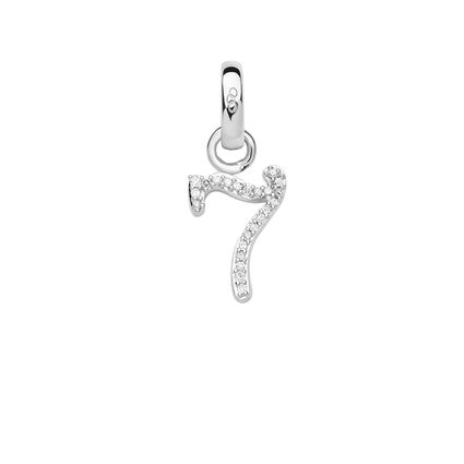 Sterling Silver & Diamond Number 7 Charm, , hires