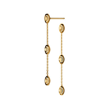 Essentials 18kt Yellow Gold Vermeil Beaded Long Earrings, , hires