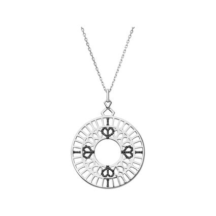 Timeless Sterling Silver & Black Sapphire Long Pendant Necklace, , hires