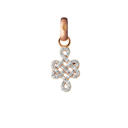 18kt Rose Gold & Diamond Infinity Knot Charm, , hires