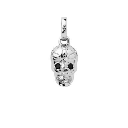 Sterling Silver & Black Spinel Skull Charm, , hires