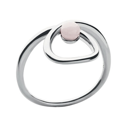 Serpentine Sterling Silver & Pink Opal Gemstone Ring, , hires