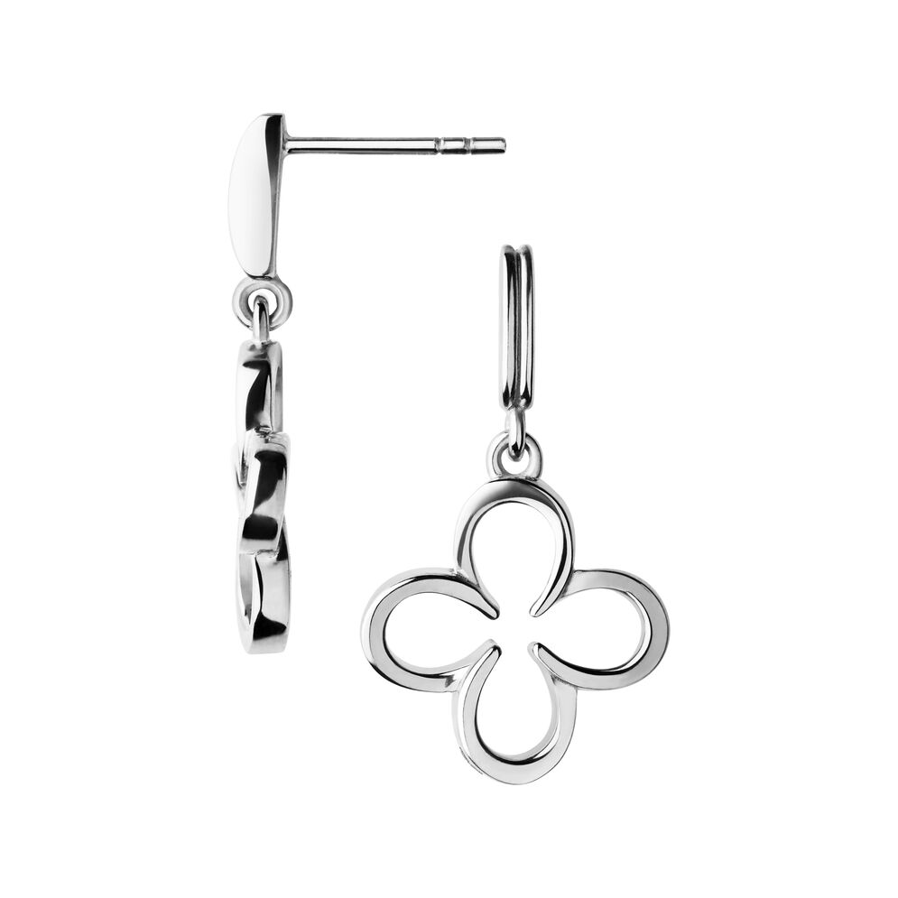 Ascot Sterling Silver Lucky Clover and Horseshoe Earrings, , hires