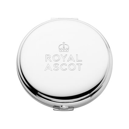 Royal Ascot Sterling Silver Plated Compact Mirror, , hires